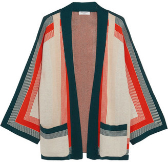 Equipment - Anders Striped Knitted Cardigan - Orange $390 thestylecure.com