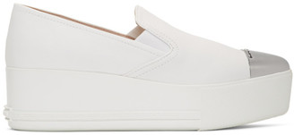 Miu Miu White Toe Cap Platform Slip-On Sneakers