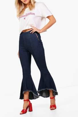 boohoo Avianna Raw Hem Extreme Flare Jeans