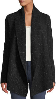 Neiman Marcus Marled-Cashmere Open-Front Duster Cardigan, Black