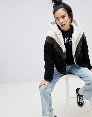 Pull&Bear Chevron Hooded Fluffy Cardi