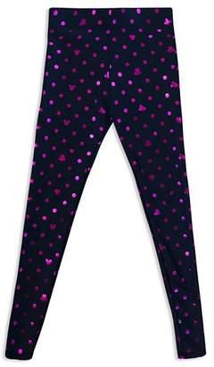 Terez Girls' Disney Mickey Mouse & Minnie Mouse Polka-Dot Foil Leggings - Big Kid