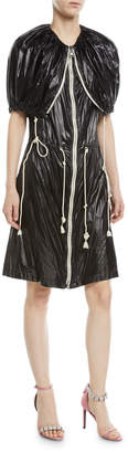 Calvin Klein Fold-Over Zip-Front Nylon Dress