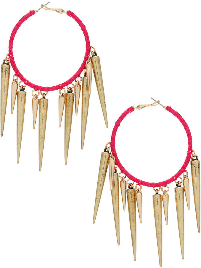Topshop Thread Spike Hoop Earrings