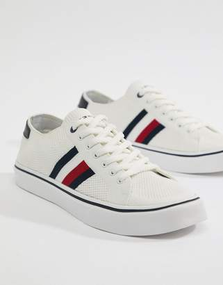 Tommy Hilfiger Icon Stripe Knit Sneakers in White