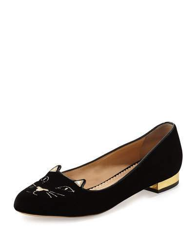 Charlotte Olympia Kitty Velvet Cat-Embroidered Flat, Black/Gold