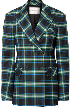 Matthew Adams Dolan - Double-breasted Checked Wool-blend Twill Blazer - Storm blue