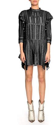 Etoile Isabel Marant Alba Embroidered Ruffle 3/4-Sleeve Short Dress