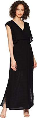 Michael Stars Women's Plisse Stripe Ruffle Maxi Dress