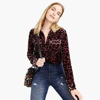 J.Crew Petite classic-fit shirt in drapey velvet leopard print