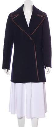 Celine Leather-Trimmed Wool Coat
