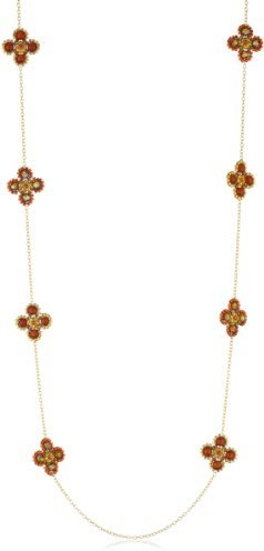 Miguel Ases Long Carnelian Flower Necklace