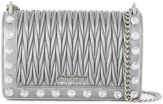 Miu Miu crystal-embellished quilted bag