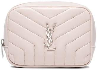 Saint Laurent Beige Loulou Monogram Square Quilted Leather Cosmetics Case