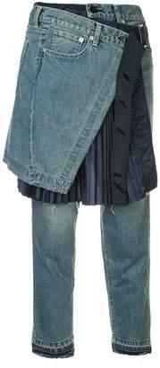 Sacai skirt overlay cropped jeans