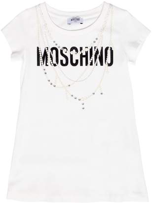 Moschino Logo Cotton Jersey Dress W/ Crystals