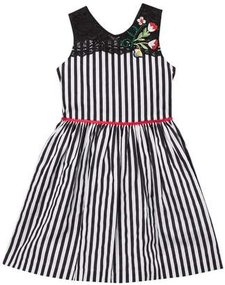 Pippa Pastourelle by and Julie Stripe Dress With Lace & Tulip Trim (Toddler & Little Girls)