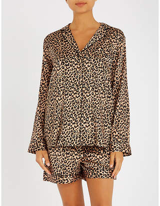 Yolke Leopard-print stretch-silk pyjama set