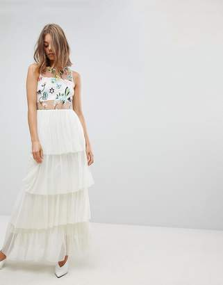 Vero Moda Flower Embroidered Maxi Dress With Tulle