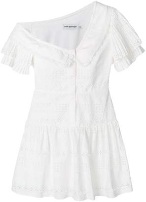Self-Portrait pleated broderie-anglaise dress