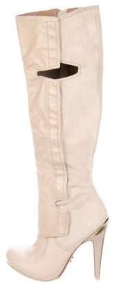 Herve Leger Leather Knee-High Boots