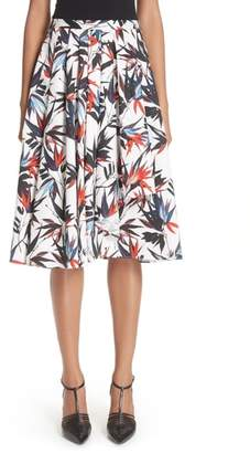 Jason Wu Bird of Paradise Print Cotton Poplin Skirt