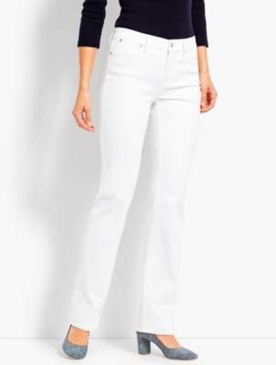 Talbots High-Rise Denim Barely Boot Jeans - White