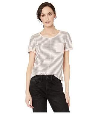 Tribal Yarn-Dye Stripe Short Sleeve Top w/ Pocket