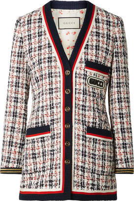 Gucci Grosgrain-trimmed Metallic Tweed Jacket - Navy