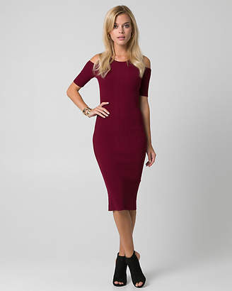 Le Château Rib Knit Scoop Neck Midi Dress