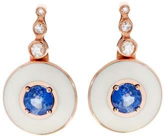 Selim Mouzannar Diamond, Blue Sapphire and Ivory Enamel Drop Earrings - Rose Gold