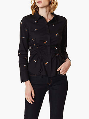 Karen Millen Star Embroidered Shirt, Black/Multi