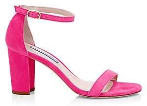 Stuart Weitzman Women's Nearlynude Block-Heel Suede Sandals