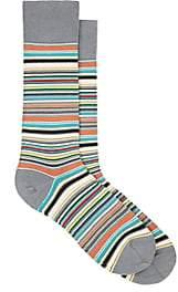 Paul Smith Men's Striped Cotton-Blend Mid-Calf Socks - Green