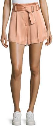 A.L.C. Deliah High-Waist Sateen Shorts, Pink