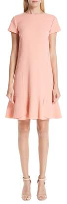 Oscar de la Renta Ruffle Hem Stretch Wool Shift Dress