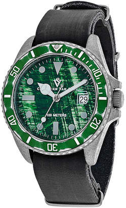 Montego CHRISTIAN VAN SANT Christian Van Sant Mens Green Dial and Black Leather Strap Watch