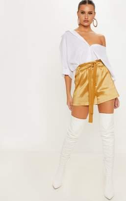 PrettyLittleThing Gold Metallic Satin Tie Waist Short