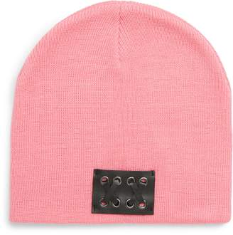 BP Faux Leather Patch Knit Beanie