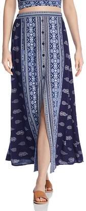 Band of Gypsies Bandana-Print Button-Front Midi Skirt