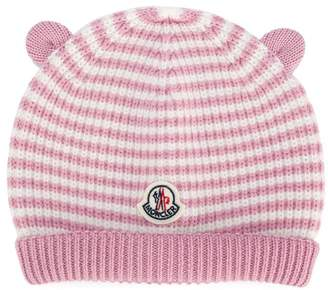 Moncler bear ears striped beanie