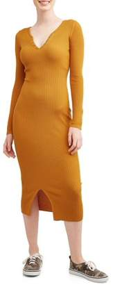 Derek Heart Juniors' Long Sleeve Snap Up Notched Neck Ribbed Midi Dress