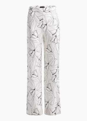 St. John Hand Drawn Artisanal Floral Print Silk Wide Leg Pants
