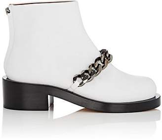 Givenchy Women's Chain-Embellished Leather Ankle Boots - White