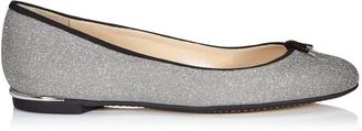 Jimmy Choo JENNIE FLAT Silver Fine Glitter Leather Round Toe Pumps