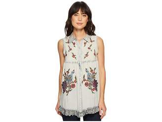 Scully Angeline Button Front Embroidered Top Women's Clothing