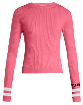 Valentino Logo Intarsia Striped Stretch Knit Sweater - Womens - Pink Multi