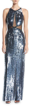 Jenny Packham Nova Sleeveless Halter Beaded-Sequin Evening Gown w/ Sheer Inserts