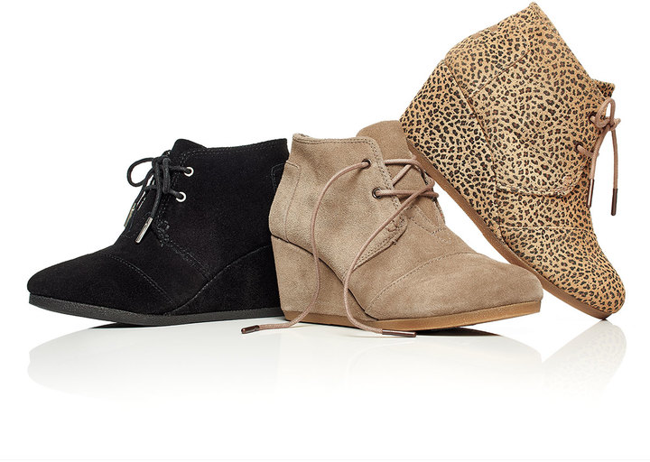 toms suede desert wedge boot black shopstyle