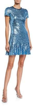 Jenny Packham Sequin Jewel-Neck Cap-Sleeve Mini Dress